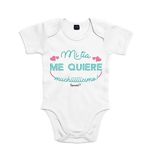 SUPERMOLON Body bebé algodón Mi tía me quiere muchísimo 6 meses Bl