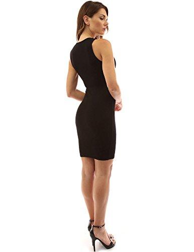 PattyBoutik Donne abito senza maniche elasticizzato color block avorio e nero