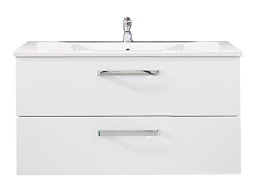 trendteam ADO31701 Hänge-Waschbeckenunterschrank inklusive Waschbecken Weiß Hochglanz, BxHxT 101x54x46 cm