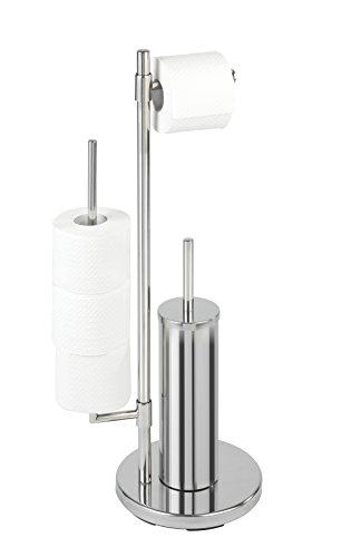 Wenko 22512100 Stand WC-Garnitur Universalo Neo - Toilettenpapierhalter und WC-Bürstenhalter, Edelstahl rostfrei, 30 x 73 x 20 cm, glänzend