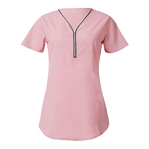 (KIMODO Damen T-Shirt mit Reißverschluss, V-Ausschnitt Kurzarm Bluse Sommer Einfarbig Lässiger Oberteile Tops Große Größen Neu 2019)