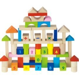 Viga 100 Piece Wooden Building Blocks Set - Childrens Construction Wood Toy