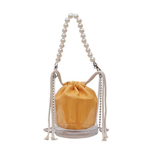 Mitlfuny handbemalte Ledertasche, Schultertasche, Geschenk, Handgefertigte Tasche,Damenmode Perle Transparent Crossbody Umhängetaschen Geldbörse Messenger Bag