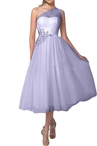 Meales Damen Eine Schulter Ballkleider Teelänge Abendkleider Elegant Applikationen Brautkleider...