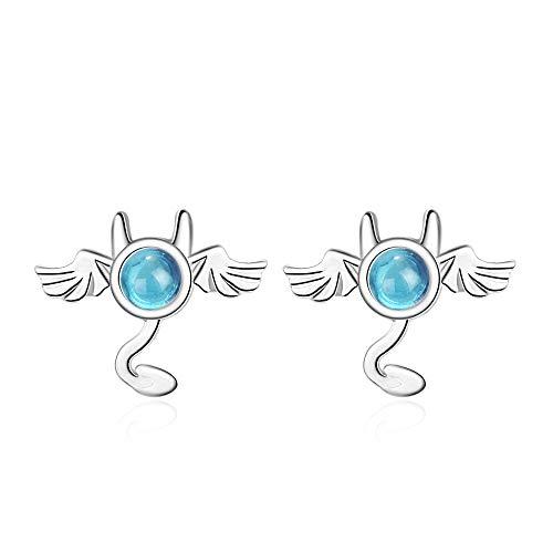 LOJBFD Blauer Kristall Ohrringe Damen Fledermaus Mode Ohrringe -