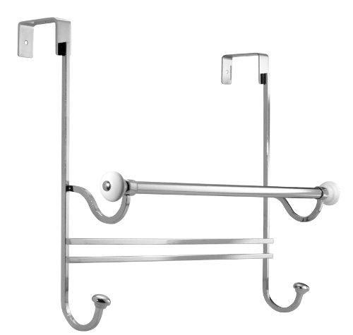 InterDesign 73310EU York Handtuchhalter zum Hängen über die Duschwand, chrom / weiß