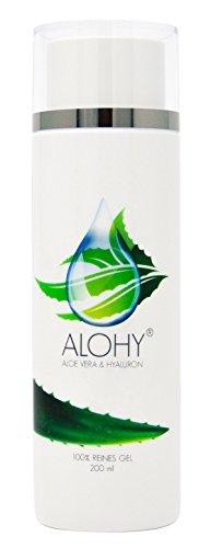 """ALOHY® - Hochwirksames ALOE VERA und HYALURON Körpergel zur täglichen Pflege, mit Anti-Aging-Wirkformel. Reduziert Falten und Zeichen der Hautalterung. Auch bei Sonnenbränden und als After Sun. Mit """"SEHR GUT"""" bewertet. 100% reines ALOE VERA Gel, ohne Zusatzstoffe. 200 ml"""