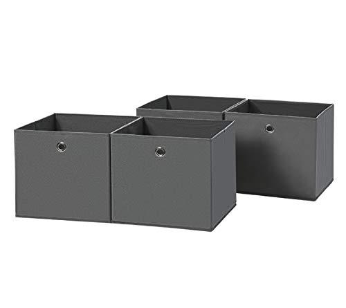 SONGMICS Aufbewahrungsbox, 4er Set, faltbare Stoffbox, Vliesstoff, Würfel, Aufbewahrungskorb, Organizer für Spielzeug, Kleidung, grau RFB02G-2