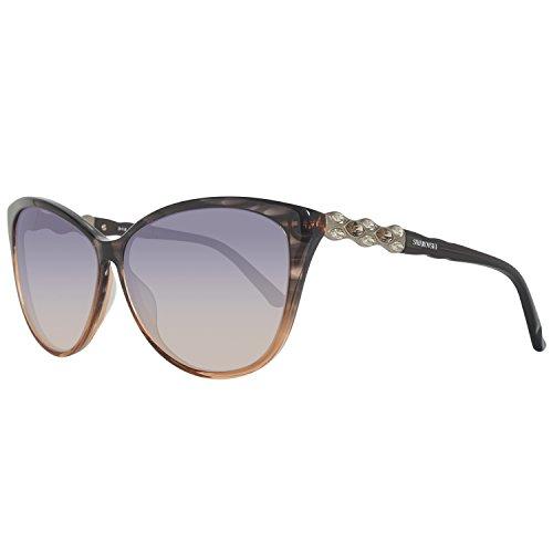 Swarovski sk0084-6220b, occhiali da sole donna, grigio (grey/gradient smoke), 62