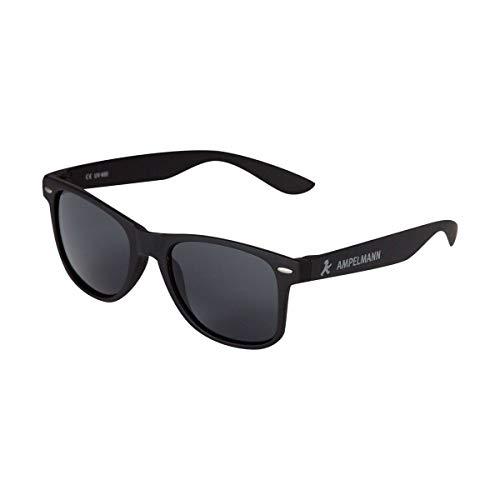 AMPELMANN Sonnenbrille matt schwarz - Checker - im Wayfarer Retro Vintage Stil schwarz verspiegelte Gläser mit Soft Touch Rahmen Unisex