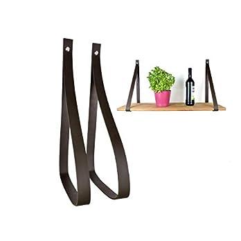 Set 2x Regalhalterung Leder für 20-25 cm Regalbrett – Wandhalterung Regal – Dunkelbraun 3cm – Lederriemen – Regalhalter – Regalträger