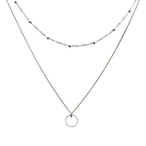UII Geschichtete Halskette S925 Sterling Silber Runde Doppelkette Damen Halskette Schmuck Valentinstag Muttertag Geburtstagsgeschenk für Mutter/Frau/Freundin