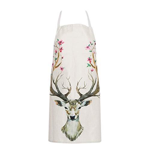 Preisvergleich Produktbild YUGEHLK Kochen Liefert Cartoon Tier Deer Printed Sleeveless Schürze für Frau Garten Küche Schürze Deer