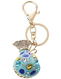 Banggood ELECTROPRIME Opal Money Purse Keychain Keyring Bag Charm Key Ring Pendant Gifts Blue