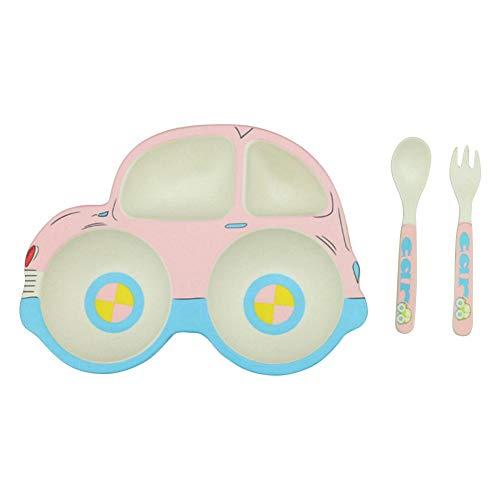Eternitry Baby Geschirr Kit Jungen und Mädchen Nette Auto Form Bambusfaser Besteck Montage Geteilte Gabel Gabel Löffel Geschirr Set Kinder Dinner Set -