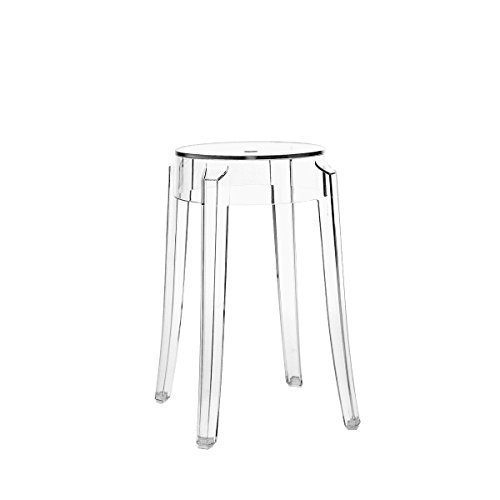 Kartell Charles Ghost Stool designed by Philippe Starck, 46cm High, Crystal Clear by Kartell