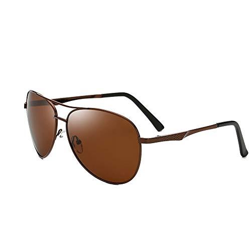 NOLLY Herren Sonnenbrille Mode Herren 100% UV-Schutz polarisierte Sonnenbrille militärischen Stil Klassische Pilotenbrille zum Angeln sportlichen Fahren (Color : Brown Frame Brown Lens)