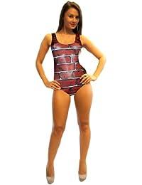 Brick Wall Print Swimsuit Bodysuit Leotard