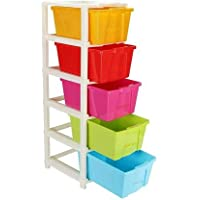 KD ENTERPRISE Plastic Free Standing Chest of 5 Drawers Plastic Free Standing Chest of Drawers Finish Color - Assorted…
