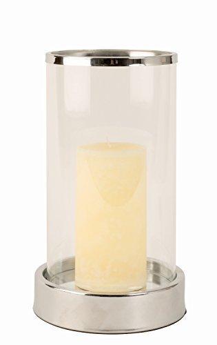 Modernes Windlicht Kerzenständer aus Edelstahl und Glas in silber Höhe 25 cm