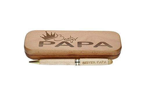 Penna a sfera con l'iscrizione 'Beste Onkel', in confezione regalo di legno Bester Papa