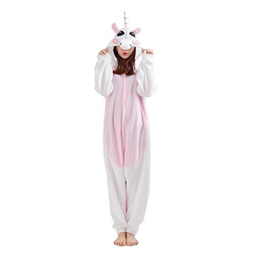 nhorn Kigurumi Tier Fleece Mit Kapuze Onesie Cosplay Kostüm Schlafanzug zum Damen Herren Rosa L (Höhe: 172CM- 180CM) (Einhorn Teen Kostüme)