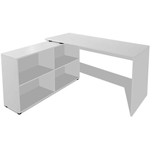Festnight L-förmige Eckschreibtisch Schreibtisch mit 4 Regale Arbeitstisch Bürotisch Computertisch für Büro oder Arbeitszimmer - Weiß - L-förmigen Schreibtisch Aus Holz