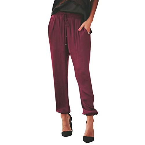 WOZOW Damen Trousers Solid Lose Loose Swing Soft Bequem Riemchen Kordelzug Zug Tie Casual Straight Leg Mid Waist Slim Lang Long Ankle Freizeithose (L,Wein) -