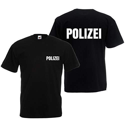 Shirt-Panda Herren Polizei T-Shirt - Druck Brust & Rücken Reflex Schwarz (Druck Weiß) ()