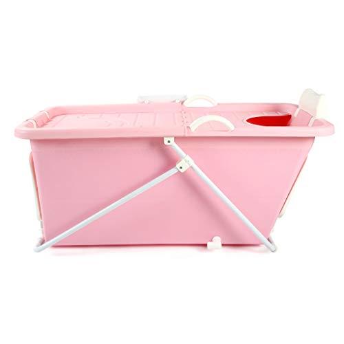 GY Tragbare Faltbadewanne, Erwachsene Kunststoff Badeeimer, Warm Halten Groß Kann Sitzen, Rutschfest Zuhause Neugeborene Baby Schwimmen, 3 Farben 124 * 58 * 51 cm (Farbe : Pink)
