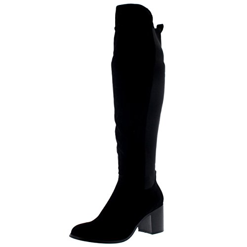 Womens Stretch Knee High Riding Block Heel Cleated Sole Winter High Boot...