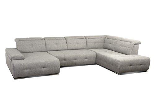 CAVADORE Wohnlandschaft Mistrel mit Bettfunktion/Großes Sofa mit Ottomane Rechts und XL Longchair Links / 343 x 77 x 228 / Beige-Grau