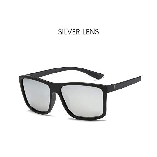 FGRYGF-eyewear2 Sport-Sonnenbrillen, Vintage Sonnenbrillen, Unisex Polarized Sunglasses Männer NEW Square Sunglasses WoMänner Vintage Driving Glasses Classic Red Eyewear Gafas UV400 silver