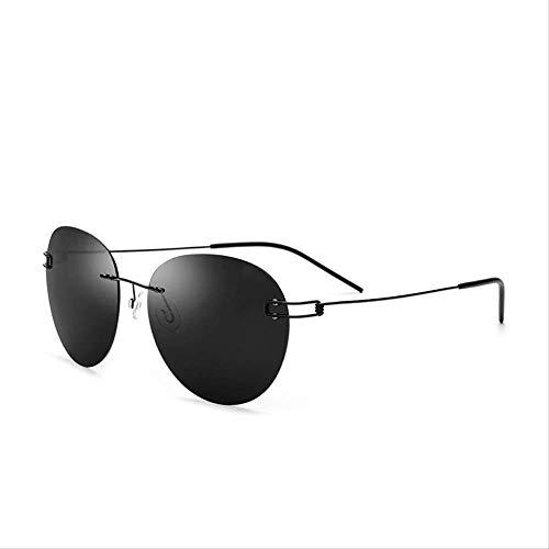 LKVNHP Neue Hochwertige Randlose Sonnenbrille Männer Titanium Legierung Schraubenlose Brillen Runde Rahmenlose Polarisierte Sonnenbrille Für FrauenSchwarz