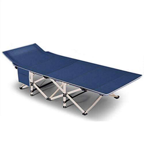 Fold bed Campingbett Klappbett belastbar mit Gämse Pad und Seitentasche Max. statische Belastung 150 kg 190x71x35cm,Blue