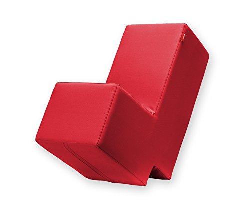 Lümmel Polsterhocker zum Sitzen, Spielen und Rumtoben - Loungemöbel & Spielmöbel für Kinder und Erwachsene - rot