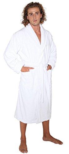 Arus Herren Deluxe Frottee Bademantel aus türkischer Baumwolle - Weiß - XX-Large -
