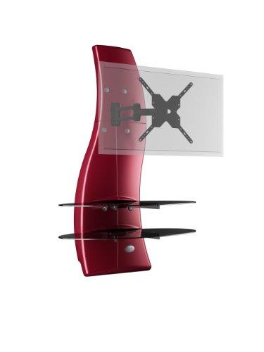 Meliconi ghost design 2000 rotation rosso parete attrezzata con supporto tv, doppio braccio orientabile, mensole in vetro temperato, per tv da 32