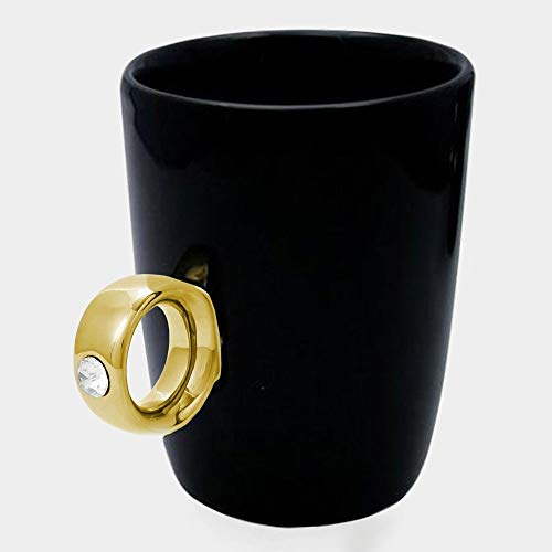 Tobbrt 1 Stück Hochzeit Engagement 2 Karat Becher KaffeeBecher Valentine Keramik KaffeeBecher Liebhaber Paar Geschenk Diamant Goldene Silber Ring Becher (Diamant-hochzeit-sets 2 Karat)