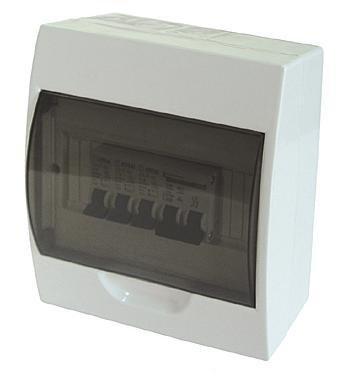 Kleinverteiler Unterverteiler aufputz für 4 Module 1-reihig inkl. PE-/ N Klemmen