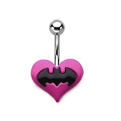 """DC Comics Batman Logo a forma di cuore rosa """", per ombelico, in acciaio INOX"""