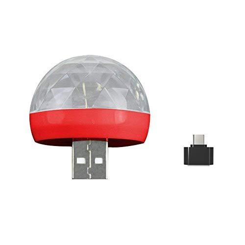 Webla Stage Light Szene Handy Mini Crystal Ball Magic Magic Ball Licht Bunte Sprachsteuerung mit Adapter Rot USB Mini Led Rgb Party Stage Light Dj Dj Ktv Weihnachten Magic Phone Ball Lampe (Rot)