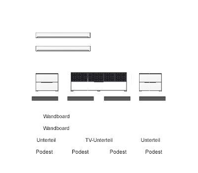 6-tlg Wohnwand in Eiche Nb./grau mit Akustik-Fächern, Gesamtmaß B/H/T ca. 300/160/51 cm - 2
