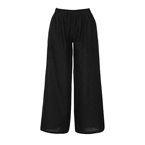 UFACE Damen-Sommer-elastische Taillen-lose Pluderhosen-breite Bein-Baumwollhosen-Hosen-weites Bein-Baggy Hosen-Leinen-Hosen (4XL, Schwarz)