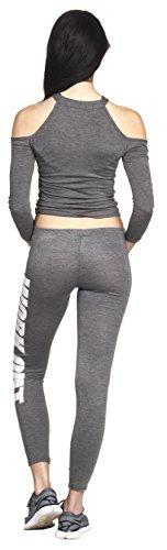 WORKOUT Leggings Yoga Pant Pants Legings Training Sport Hose Modell 2016 Statment Print Aufdruck Squat Fitness Sport Dunkelgrau / Weiß