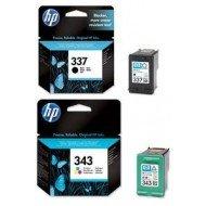 HP Nr. 337 schwarz (C9364E) + 343 (C8766E) farbig Kombipackung