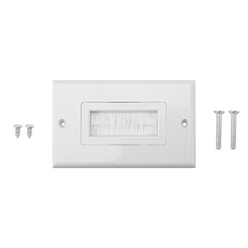 Anti-Dust Brushplate Cable Wall Plate Port White Brush Strip Wallplate Insert Outlet Cable Faceplate Mount Multimedia Panel(Eins) Mount Wall Plate