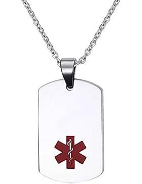 Flongo Edelstahl Anhänger Halskette Kette Silber Rot Kostenlose Gravur Dog Tag Medical Alert ID Sos Notfall Personalisierte...