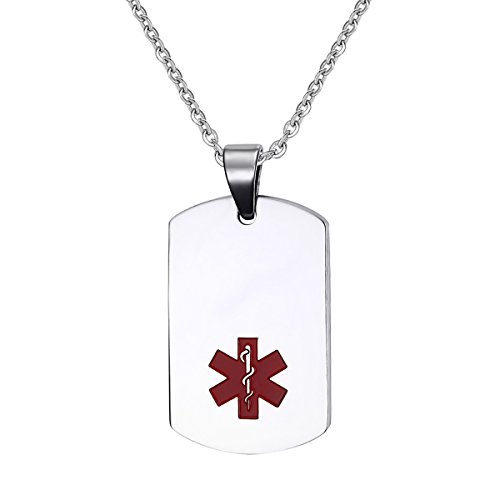 Flongo SOS Notfall Medical Alert ID Marke Herrenkette Männer Anhänger Halskette Silber Gold Kette Kostenlose Gravur Dog Tag Personalisierte Medizinische Marke Militärische Erkennungsmarke