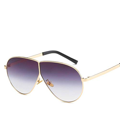 Taiyangcheng New Big Frame Sonnenbrille Frauen Metall Pilot Driving Sonnenbrille Mode männer flachen Spiegel Sonnenbrille,Gold allmählich braun